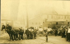 Eight Horse Hitch pulling bank vault, 1910