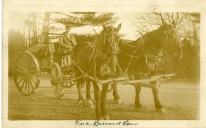 Fred A. Livermore and his horse drawn wagon