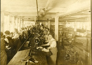 The cutting, stitching and lasting room in the Allen Squire Company
