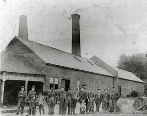Wire Mill workers and children in front of the Annealing Department
