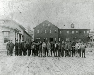 Workers outside the Spencer Wire Company