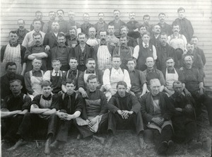 Shop workers at the Humber Cycle Company, Westborough (Westboro), Massachusetts