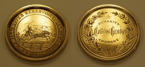 Collins Graves' medal for heroism during the Mill River Disaster, Williamsburg, Mass., 1874