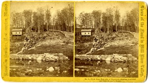 View from east side of reservoir bed, showing west wall and gatekeeper's house, Williamsburg, Mass., after the 1874 Mill River Disaster