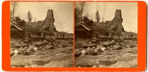 View of reservoir dam ruins, Williamsburg, Mass., after the 1874 Mill River Disaster