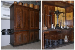 Williamsburg's official town weights and measures cabinet and accessories