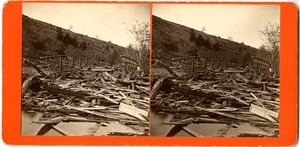 Wreckage along Joe Wright Brook, Williamsburg, Mass., after the 1874 Mill River Disaster