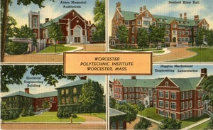 Worcester Polytechnic Institute - Alden Memorial, Sanford Riley Hall, Electrical Engineering Building, and Higgins Mechanical Engineering Laboratories.