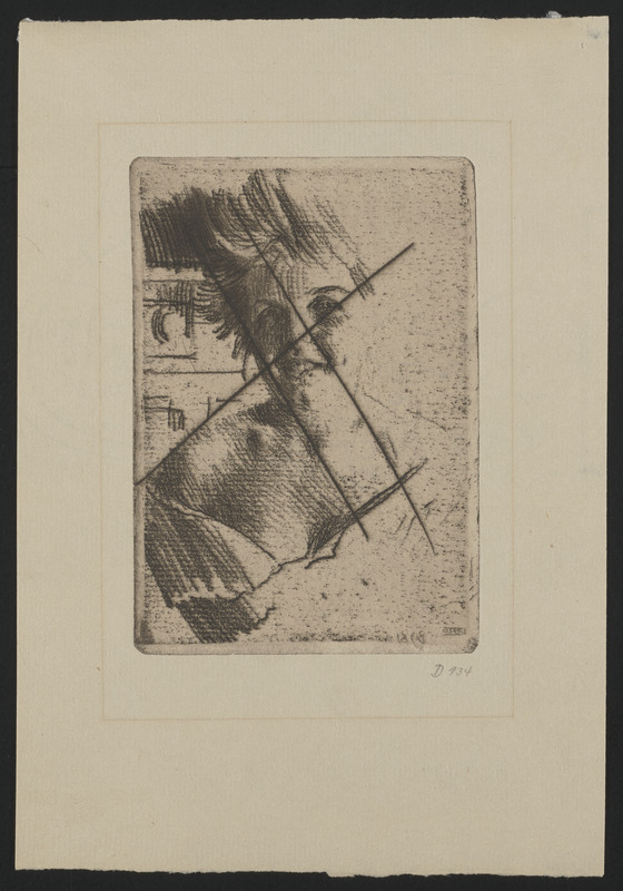 Laughing model I (soft ground etching)