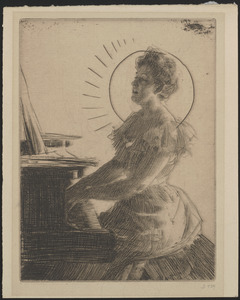 At the piano (Miss Anna Burnett)