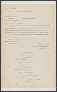 Sacco-Vanzetti Case Records, 1920-1928. Defense Papers. Action for Divorce: Minnie Z. Whitney v. Erastus C. Whitney, 1908-1909. Box 12, Folder 33, Harvard Law School Library, Historical & Special Collections
