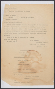 Sacco-Vanzetti Case Records, 1920-1928. Defense Papers. Action for Divorce: Minnie Z. Whitney v. Erastus C. Whitney, 1908-1909. Box 12, Folder 34, Harvard Law School Library, Historical & Special Collections
