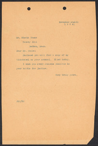 Sacco-Vanzetti Case Records, 1920-1928. Correspondence. Fred H. Moore to Nicola Sacco resignation, November 8, 1924. Box 38, Folder 100, Harvard Law School Library, Historical & Special Collections