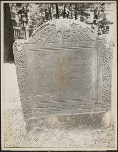 The grave of Benjamin Woodbridge, the young victim of the duel on the common in 1728, is midway between the gate and Park Street Church, near the fence