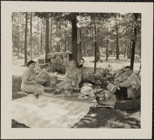 Arzouhaljian family having a picnic, Houghton Pond