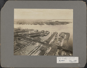 Aerial view, Boston Harbor, docks