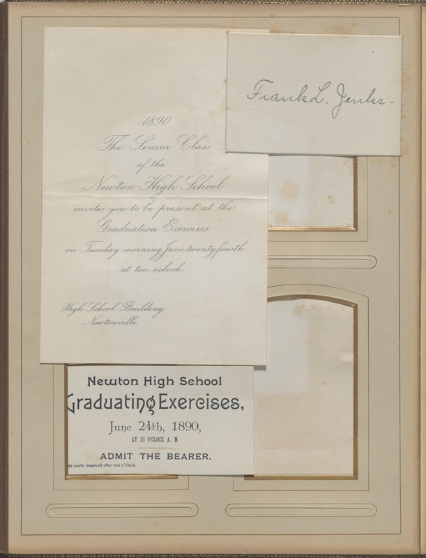 Newton High School, class of 1890 photographs - Graduation Invitation, Ticket and Calling Card -