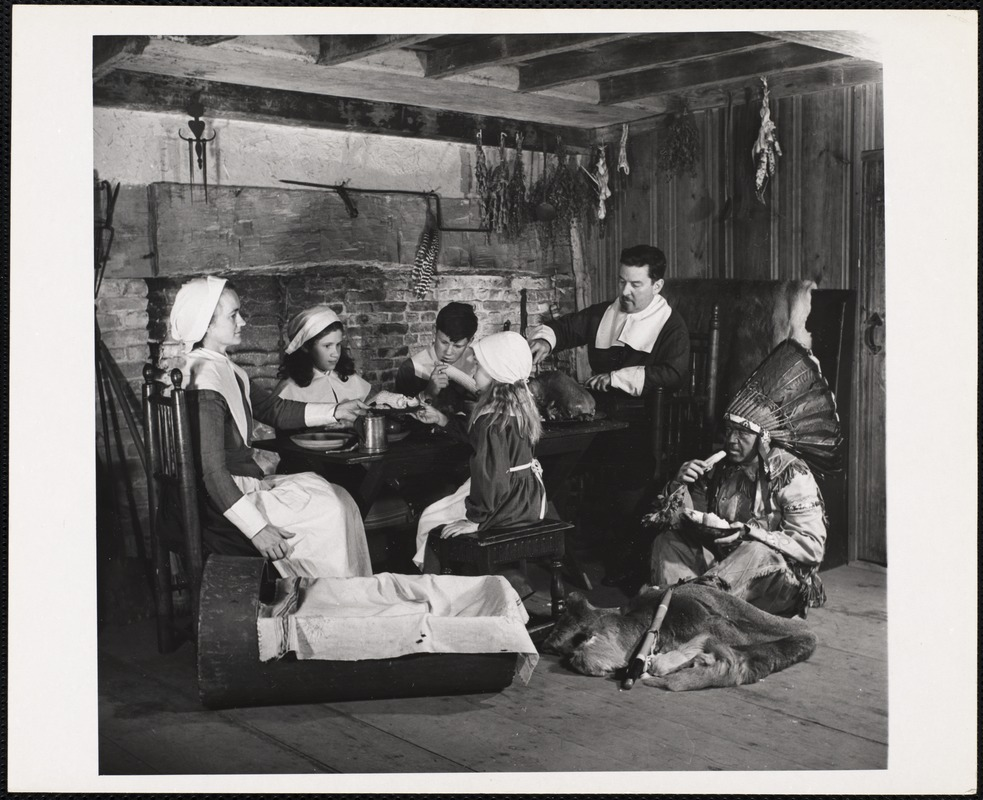 """""""First Thanksgiving dinner"""" - Harlow House Plymouth, Mass"""