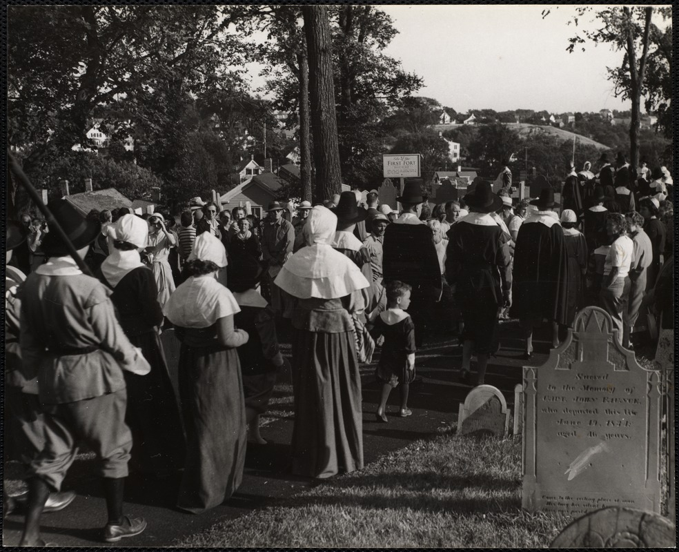 Plymouth, Mass Pilgrims march up to the old burial ground every Friday in August + sing a hymn.