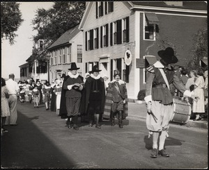 The Pilgrim Progress. Plymouth, Mass. it is a yearly observance instituted in 1921 in honor of the Pilgrims. This is the start of the march on Layden Street.