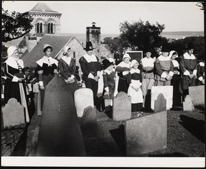 Plymouth, Mass. the Pilgrims march up to the old burial ground every Friday in August and sing a hymn.