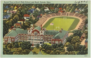 Aerial view of Scott High School and bowl, Toledo, Ohio