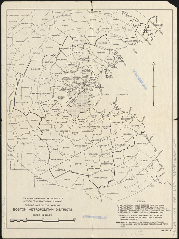 Outline map of the various Boston metropolitan districts