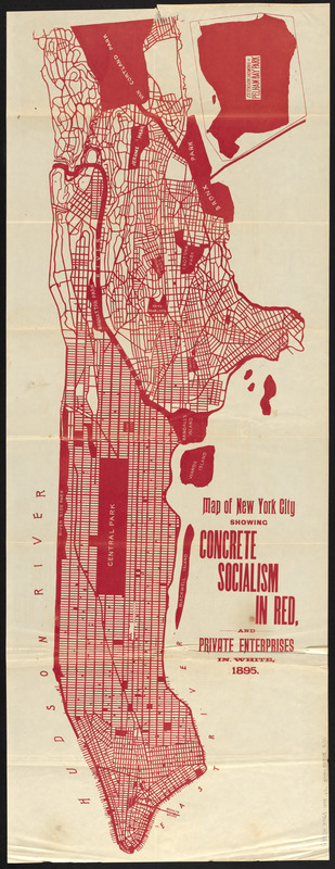 Map of New York City showing concrete socialism in red, and private enterprises in white, 1895