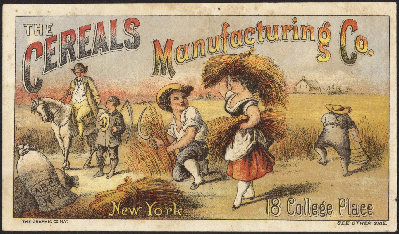The Cereals Manufacturing Co. New York. 18 College Place.