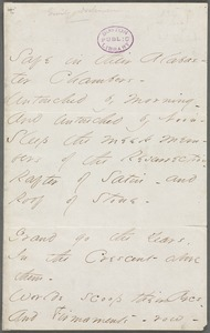 Emily Dickinson, Amherst, Mass., autograph manuscript poem: Safe in their Alabaster Chamber, 1862