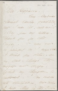 Emily Dickinson, Amherst, Mass., autograph letter signed to Thomas Wentworth Higginson, 25 April 1862