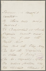 Emily Dickinson, Amherst, Mass., autograph manuscript poem: Success is counted sweetest, 1862