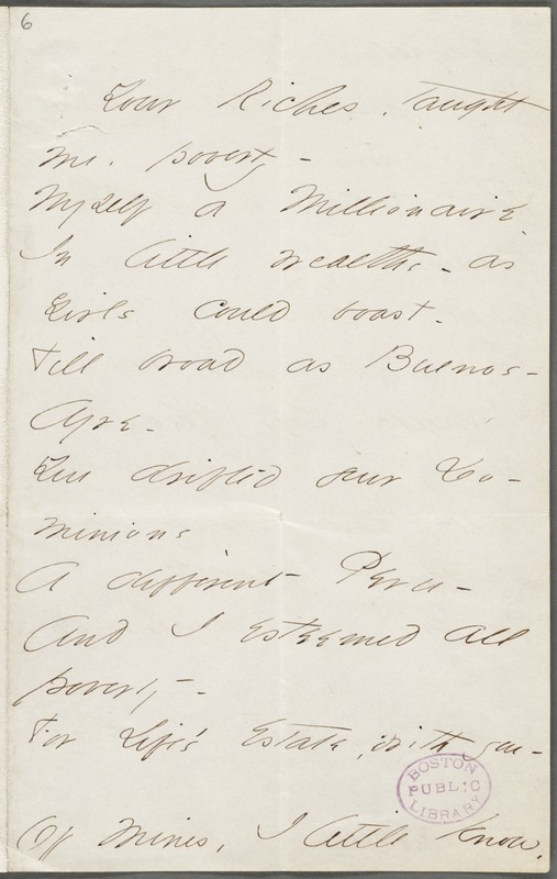 Emily Dickinson, Amherst, Mass., autograph manuscript poem: Your riches taught me poverty, 1862