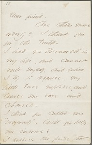 Your Scholar (Emily Dickinson), Amherst, Mass., autograph letter signed to Thomas Wentworth Higginson, August 1862
