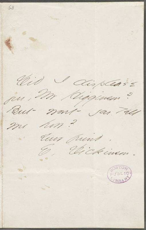 Emily Dickinson, Amherst, Mass., autograph note signed to Thomas Wentworth Higginson, 6 October 1862