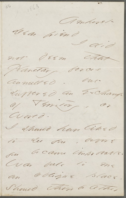 Your Gnome (Emily Dickinson), Amherst, Mass., autograph letter signed to Thomas Wentworth Higginson, February 1863