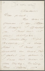 Emily Dickinson, Amherst Mass., autograph letter to Thomas Wentworth Higginson, about 1863