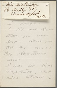 Emily Dickinson, Cambridgeport, Mass., autograph letter signed to Thomas Wentworth Higginson, early June 1864