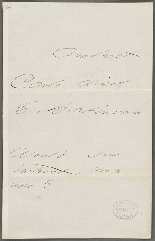 Emily Dickinson, Amherst, Mass., autograph note signed to Thomas Wentworth Higginson, 27 January 1866