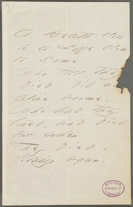 Emily Dickinson, Amherst, Mass., autograph manuscript poem: A Death blow is a life blow to some, 1866