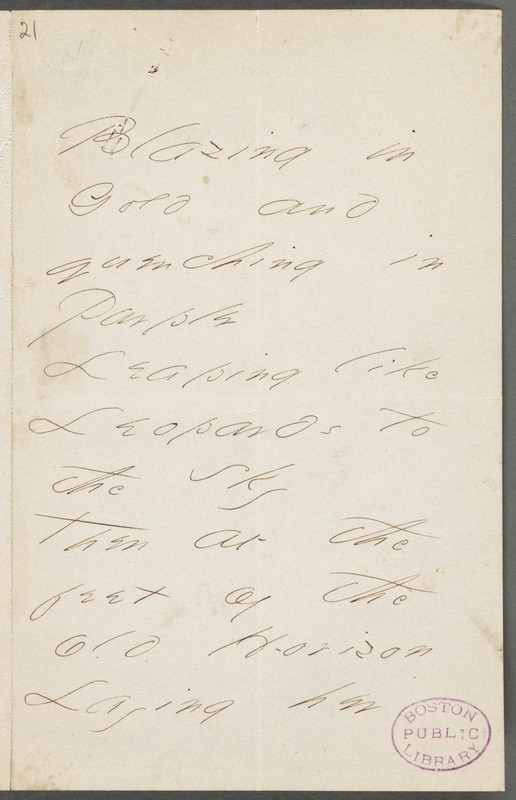 Emily Dickinson, Amherst, Mass., autograph manuscript poem: Blazing in Gold, 1866