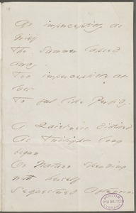 Emily Dickinson, Amherst, Mass., autograph manuscript poem: As imperceptibly as Grief, 1866