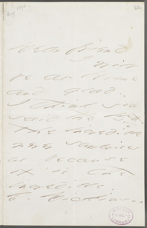 Emily Dickinson, Amherst, Mass., autograph note signed to Thomas Wentworth Higginson, 16 August 1870