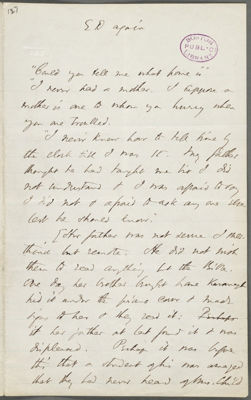 Thomas Wentworth Higginson, Amherst, Mass., autograph letter fragment to Mary Channing Higginson, 17 August 1870