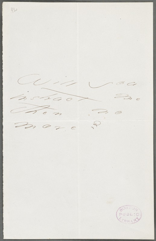Emily Dickinson, Amherst, Mass., autograph note to Thomas Wentworth Higginson, about 1873