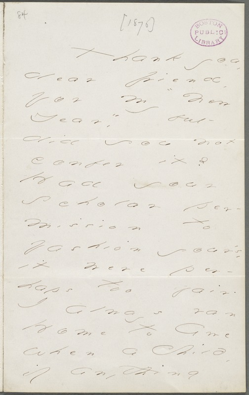 Your Scholar (Emily Dickinson), Amherst, Mass., autograph letter signed to Thomas Wentworth Higginson, January 1874