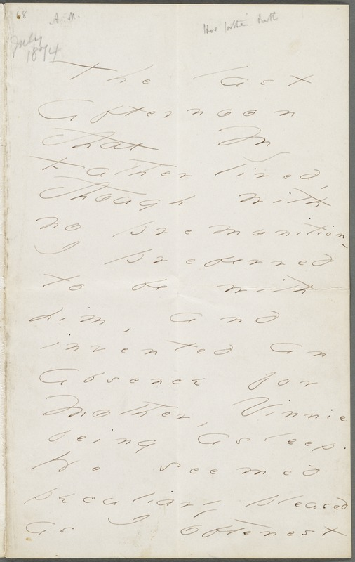 Emily Dickinson, Amherst, Mass., autograph letter to Thomas Wentworth Higginson, July 1874