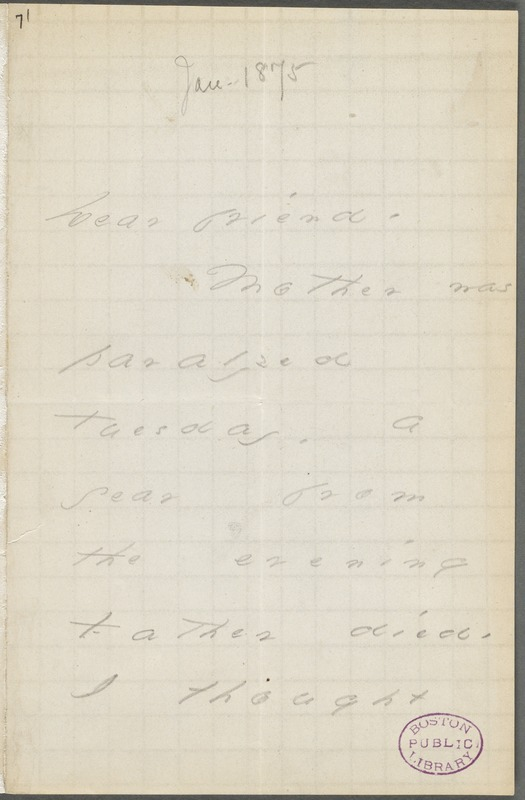 Your Scholar (Emily Dickinson), Amherst, Mass., autograph note signed to Thomas Wentworth Higginson, June 1875