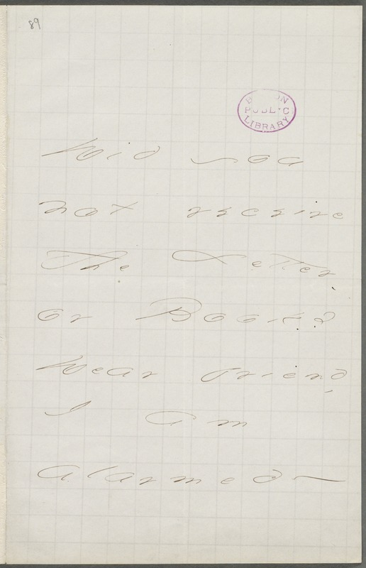 Emily Dickinson, Amherst, Mass., autograph note to Thomas Wentworth Higginson, February 1876