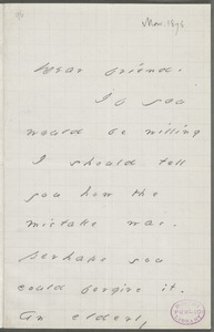 Your Scholar (Emily Dickinson), Amherst, Mass., autograph letter signed to Thomas Wentworth Higginson, February-March 1876